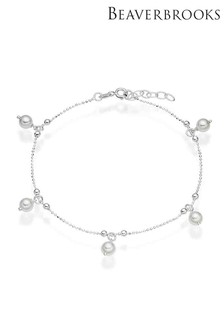 Beaverbrooks Sterling Silver Synthetic Pearl Anklet