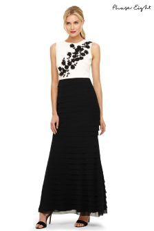 Phase Eight Ivory/Black Leila Layered Embellished Dress