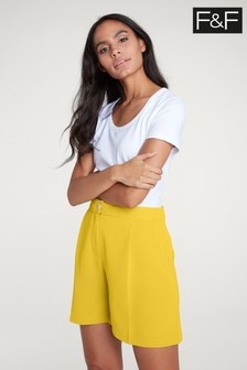 F&F Yellow Tailored Fly Front Short
