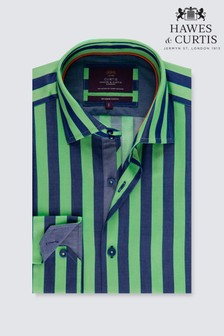Hawes And Curtis Navy/Green Stripe Cuff Shirt