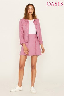 Oasis Pink Structured Frill Mini Skirt