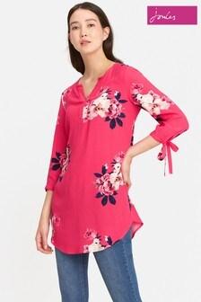 Joules Raspberry Bircham Bloom V Neck Woven Tunic