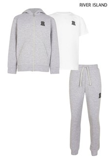 River Island Teen Grey Hoodie, T-Shirt And Joggers 3 Piece Set