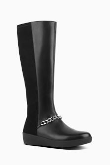 FitFlop™ Black Fifi Chain Stretch Knee High Boot