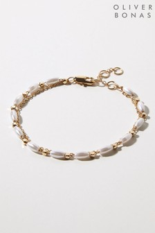 Oliver Bonas White Willow Faux Pearl & Bead Chain Bracelet