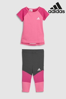 Lot de collants adidas Mini Me rose/gris