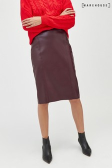 Warehouse PU Seamed Pencil Skirt