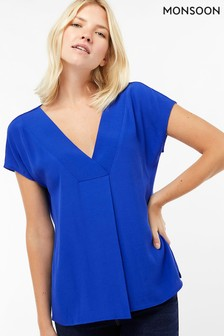 233cd728cc Monsoon Ladies Blue Winona Woven Front Top