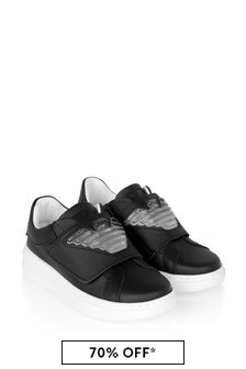 Emporio Armani Boys Black Leather Trainers