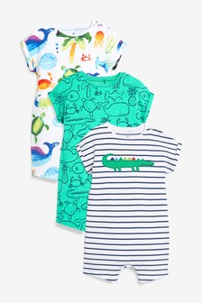 Under The Sea Character Rompers Three Pack (0mths-2yrs)