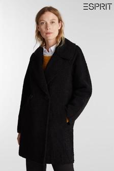 Esprit Black Womens Woven Bonded Faux Fur Coat