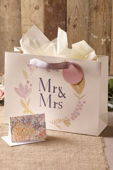 Mr & Mrs Bag, Card And Tissue Set