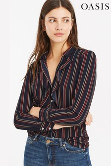 Oasis Natural Stripe Frill Front Shirt