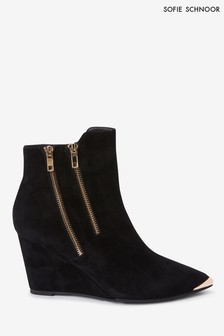 Sofie Schnoor Black Suede Wedge Ankle Boots