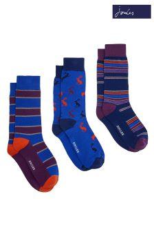 Joules Purple Striking Sock Three Pack