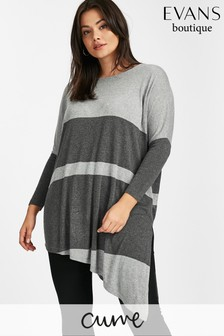 Evans Grey Asymmetric Colour Block Top
