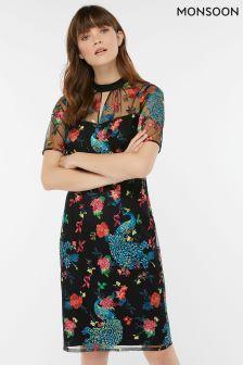 Monsoon Black Ishani Peacock Embroidered Dress