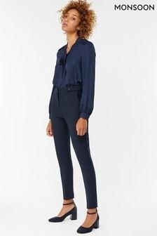 Monsoon Blue Bonnie Button Tab Regular Trouser