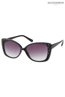 Accessorize Black Gabi Glam Square Sunglasses