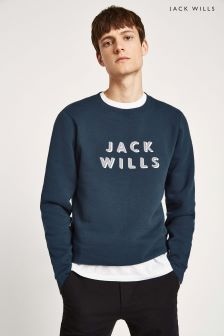Jack Wills JW Navy Brayton Large Front Graphic Crew Sweat