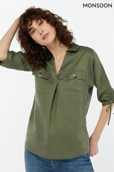 Monsoon Ladies Green Manila Linen Overshirt