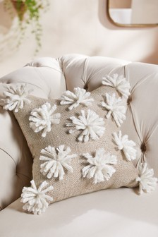 Metallic Tufted Pom Pom Cushion