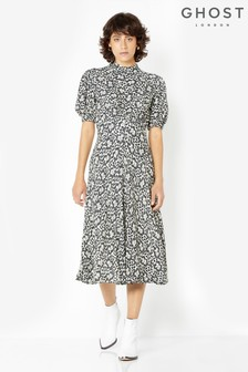 Ghost London Black Printed Luella Dress