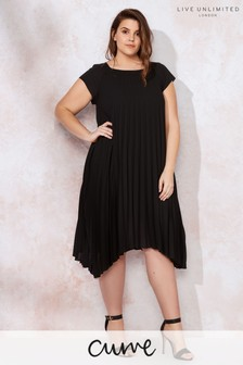 Live Unlimited Black Chiffon Sunray Pleated Dress