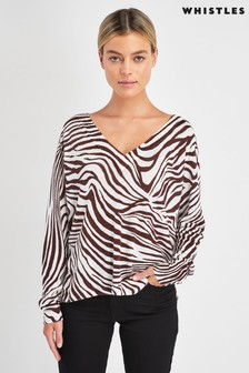 Whistles Graphic Zebra Print Linen Knit