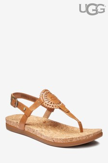 Gaštanové sandále s logom UGG® Ayden II