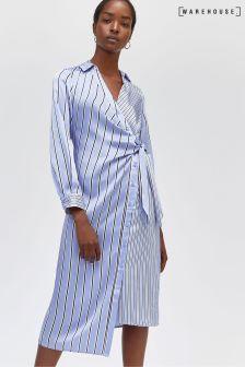 Warehouse Blue Mixed Stripe Shirt Dress
