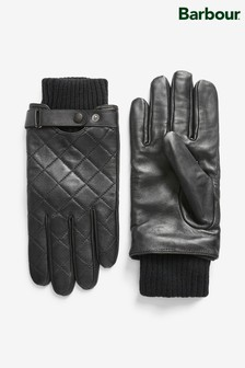 Barbour® Quilted Brown Leather Gloves