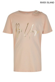 River Island Pink Toujours Cut Out Embroidered T-Shirt