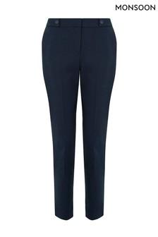 Monsoon Blue Bonnie Button Tab Crop Trouser