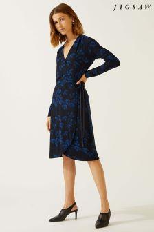 Jigsaw Blue Ginkgo Print Dress
