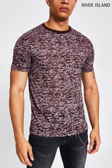 River Island Burgundy Burnout Tee