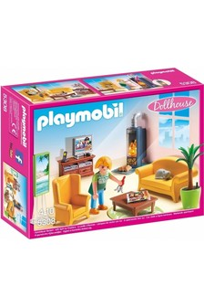 Playmobil® Dollhouse Living Room With Fireplace