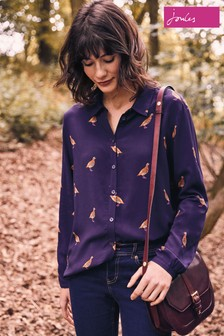 Joules Navy Partridge Soft Woven Printed Blouse