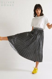 Oliver Bonas Silver Contrast Pleated Skirt