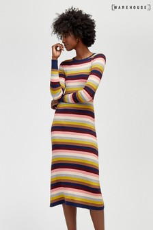 Warehouse Yellow Rainbow Stripe Rib Midi Dress