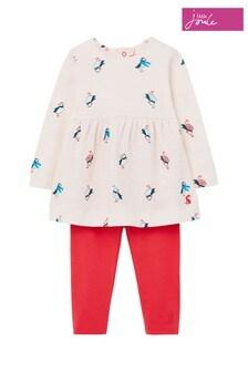 Joules Pink Christina Dress And Leggings Set