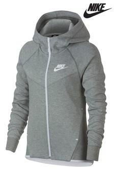 Nike Tech Grey Fleece Zip Through Hoody