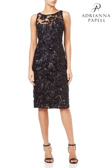 Adrianna Papell Black Sequin Embroidered Sheath Dress