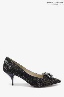 Kurt Geiger London Black Pia Jewel Point Court Shoes
