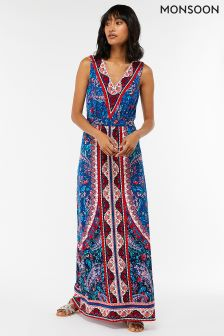 Monsoon Blue Amanda Print Maxi Dress