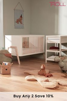 Torsten 2 piece Cot Bed & Changing Table In White By Troll