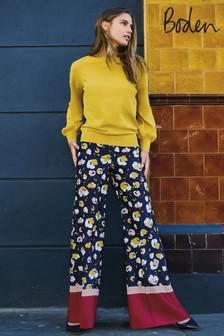 Boden Navy Painted Peony Weybourne Wide Leg Trouser