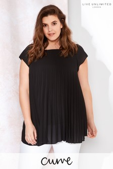 Live Unlimited Black Sunray Pleat Top