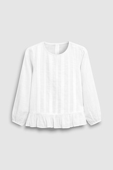 White Lace Front Blouse (3-16yrs)