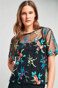 Floral Embroidered Mesh T-Shirt